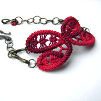 Red buttefly bracelet-romanian point lace-crochet bracelet with bronze chain