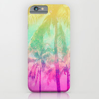 Pink Yellow Ombre Tropical Palm Trees iPhone & iPod Case by Hyakume