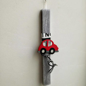Car Easter candle, red car Easter candle for boys, red wooden car on flat grey candle, unique Easter candle for teens, boys and baby boys