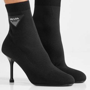 PRADA Logo-appliquéd stretch-knit sock boots
