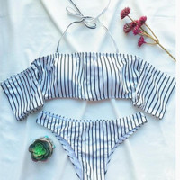 Fashion white black  stripe Off shoulder bikini low sleeve two piece swimsuit