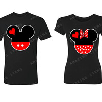 Mickey & Minnie Couple Heads Couple Matching T-shirts Cute couple shirts love  2 shirts for 1 Price!