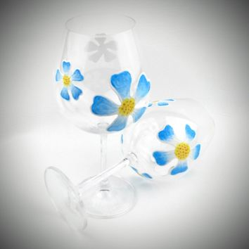 2 Blue Flower stemmed Wine Glasses, Hand Painted wine glass, blue wine glasses, aqua wine glass, decorated wine glass, summer wine glasses