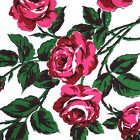 1950s Linen Rose Table Cloth with matching napkin set