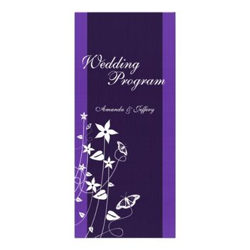 Wedding Program | Purple Flower Butterfly Rack Cards