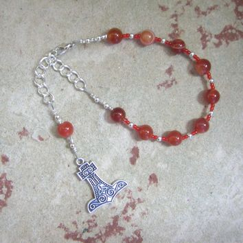 Thor Prayer Bead Bracelet in Red Agate:  Norse God of Thunder, Protector of Humanity