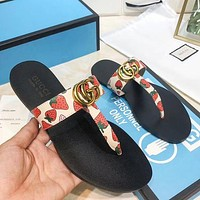 Gucci Woman Men Fashion Slippers Sandals Flat Shoes