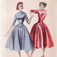 Vintage 1950s Sewing Pattern - Long Line Bodice Party Dress, Zig Zag Shaped Waist, Full Gathered Skirt - Butterick 7555, Bust 30, Uncut