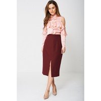 Burgundy Split Highrise Pencil Skirt