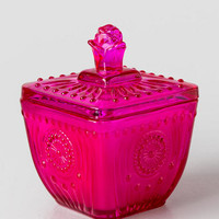 Fuchsia Pressed Glass Candle