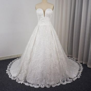 Detachable Strap Lace Wedding Dresses A Line Sweetheart Lace Up Back