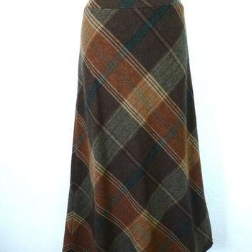 Vintage 80s Plaid Wool skirt Ralph Lauren Brown Beige Leather Straps Buckles Size 8 S