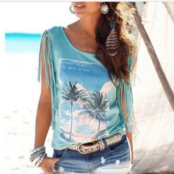 MDIG7ON Fashion Tassel Coconut Tree Blouse Shirt Top Tee