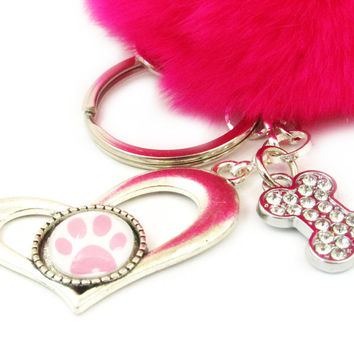 Dog Paw with Bone and Pom Keychain