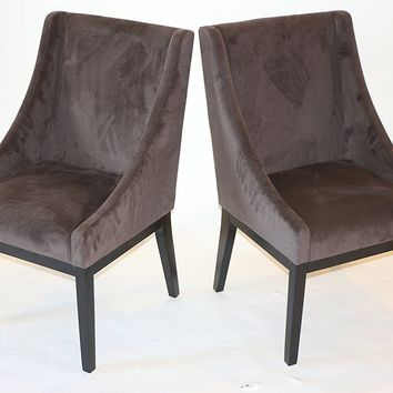 New Century® Set of 2 Contemporary Brown Microfiber Accent Chairs