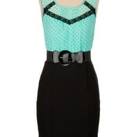 Belted Dot Print 2fer Dress