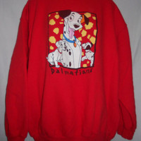 Vintage 80s 90s Sweatshirt Disney Mickey and Company 101 Dalmations Distressed Kawaii Puppy Dog Logo Sweatshirt Large Red