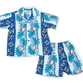 hieroglyph blue hawaiian boy cabana set