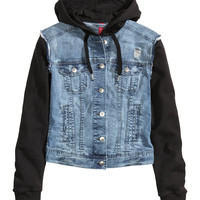 H&M - Hooded Denim Jacket - Denim blue - Ladies