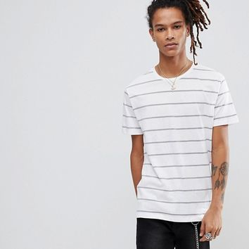 Pull&Bear Nautical Stripe T-Shirt In White at asos.com