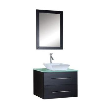 Virtu USA Marsala 30 in. Single Basin Vanity in Espresso with Glass Vanity Top and Mirror-MS-560G at The Home Depot