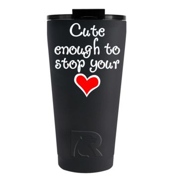 RTIC 16 oz Nurse Cute Enough to Stop Your Heart on Black Tumbler