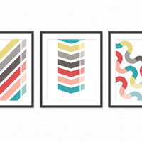 Modern Living Room Art Prints / Posters Set of 3 / Dining Room Wall Decor - Coral, Red, Gray, Turquoise/Aqua Geometric Patterns 8x10