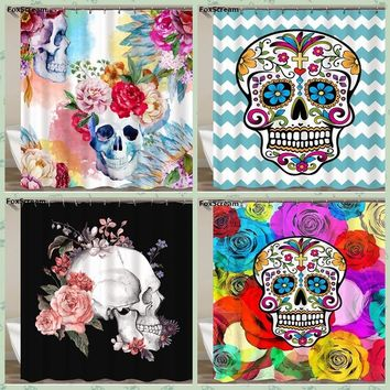 Mexican Fabric Sugar Skull show Curtains Cartoon Colored Skull  Shower Curtain Bathroom Waterproof  Polyester With Hooks