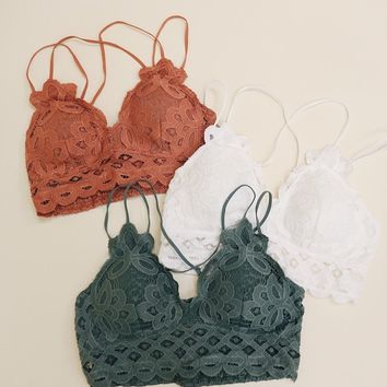 Floral Lace Strappy Bra (Multiple Colors Available)