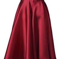 Wine A-Line Pleated Organza Panel Skirt