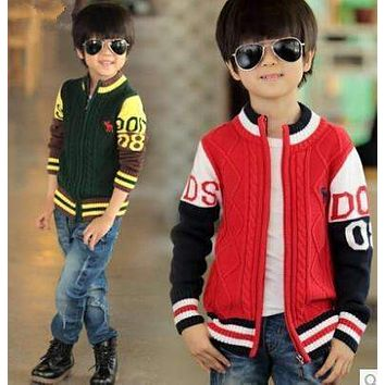 Boys Casual Winter Cable Knit Sweater Jacket