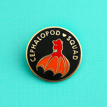 Cephalopod Squad Enamel Pin (hard enamel pin cute squid lapel pin badge squid jewelry cephalopod deep sea octopus cloisonne backpack pins)