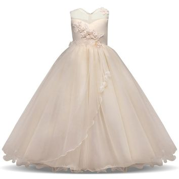 Princess Girl Wedding Ceremony Dress Champagne Long Evening Prom Gown Kids Clothes Flower Summer Teenage Girl Party Dresses
