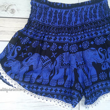 Blue High waist Lace Short Elephants Unique Boho Print Summer Beach Chic Fashion Trim Tribal Aztec Ethnic Clothing Bohemian Ikat Cloth Hobo