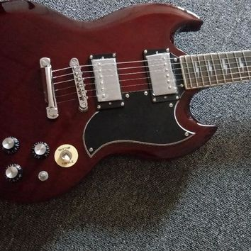 Classic Model Best Service SG Guitar Red Color Angus Young Style AC/DC Inlaids & Lefty SG Available Electric guitar
