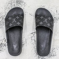 Louis Vuitton Waterfront Mule Sandals Black Slides Slippers - Best Deal Online
