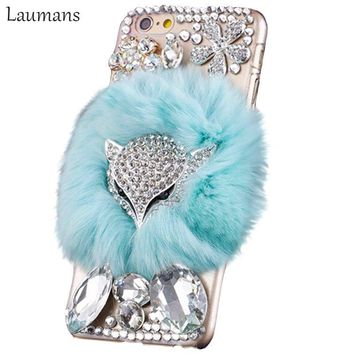 Laumans Luxury fox head Hard pc cover For 4s 5s 5c Rhinestone Cover real Rabbit Fur mobile phone Case for iphone x 6 6s 7 8 plus