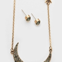 Boho Crystal Pave Rose Gold Crescent Moon & Star Fringe Necklace & Earrings