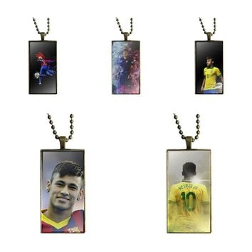 Brazil Star Neymar Jr For Men Women Party Gift Necklace With Bronze Plated Glass Cabochon Choker Long Pendant Rectangle Necklace