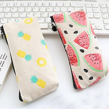 Women Canvas Fruits Stationery Coin Purse Pencil Pen Case Makeup Bag Printing Cute Watermelon pineapple Pouch Case bolsa kawaii