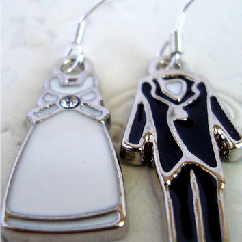 Bride and groom earrings
