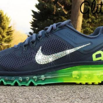 Bling Nike Air Max 2013+ Glitter Kicks Running Shoe with Hand Customized Swarovski Cry