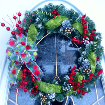Christmas Wreath for Holiday Front Door in Evergreen