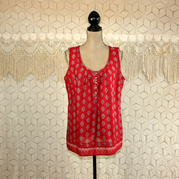 Sleeveless Summer Top Cotton Blouse XL Plus Size Red Print Shirt Scoop Neck Bohemian India Print Eddie Bauer Womens Clothing