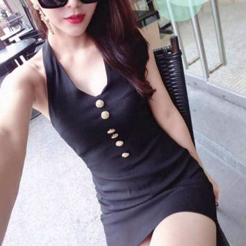 Hot Women Sexy V-neck Halter Front Button Hollow Out Bodycon Package Hip Club Mini Dress