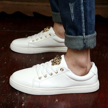Versace Trending Women Men Casual Low Help Flat Running Sports Shoes Sneakers White
