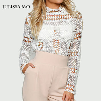 Julissa Mo Women White Blouse Casual Turtleneck Long Sleeve Lace Shirt Plus Size Women Clothing Sexy Hollow Out Women Tops