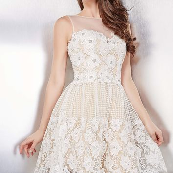 Ivory Sexy Sleeveless Short Dress 23458