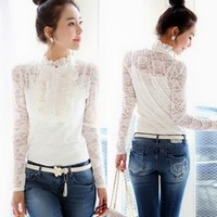 Sexy Women's Stylish 2 PCs Stand Up Collar Ruffles Lace Top Shirts Twinsets 1Id