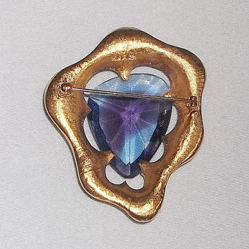 Vintage BSK Brooch with Large Blue Purple Watermelon Stone